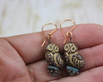 Rustic Bird Earrings, Rustic Earrings, Rustic Boho Earrings, Boho Earrings, Bird Earrings, Nature Earrings, Bird Charm Earrings