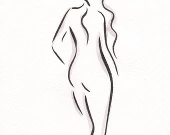 Standing figure from back drawing. Rough b&w sketch. Original wall art for bedroom.