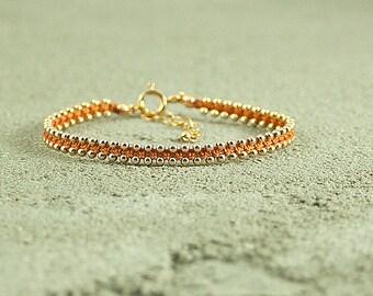 Friendship bracelet Orange,dainty bracelet,handmade beaded bracelets,stack bracelets,trendy jewelry,bracelet for her,thin gold bracelet