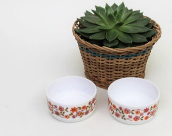 Set of Two Arcopol Orange Flower Design Small Bowls