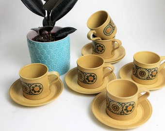 Set of Six Kiln Craft Bacchus Design Coffee Cups and Saucers