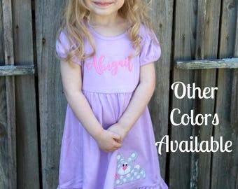 Easter Dress Girl, Easter Dress Toddler, Applique Easter Dress, Spring Dresses for Girls, Bunny Applique Dress, Personalized Dress