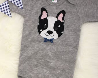 Boston terrier baby boy bodysuit/onesie, hand sewn dog applique- personalize with your child's name!