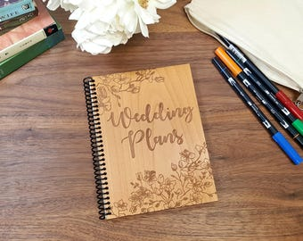 Wood Notebook - Wedding Plans with Cherry Blossom Borders - Laser Engraved Wood - Lined or Blank Pages
