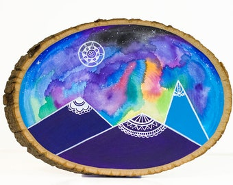 Mountain wood sign, mountain nursery art, galaxy art, bohemian art, wood slice art, nature home decor, full moon art, starry night art