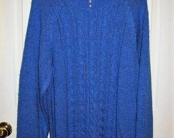 Vintage Ladies Blue Pullover Sweater by Karen Scott XL Only 9 USD