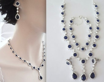 Blue Sapphire jewelry set ~ 3 piece ~ Necklace,Earrings,Bracelet ~ Cubic Zirconias  ~ Halo ~ Formal ~ High End ~ Something blue ~ KATE
