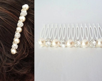"Bridal hair comb ~ 3""~ Pearl and rhinestone hair comb ~ Hair accessories ~ Wedding hair piece ~ Crystal hair comb ~ Brides hair comb~DESTINY"