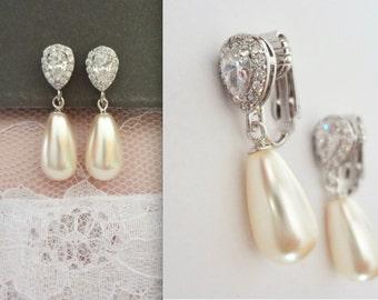 Pearl earrings, Clip on pearl earrings, Brides earrings, Cubic zirconia clips, Swarovski pearl earrings clip ons,Bridal jewelry,Bridesmaids