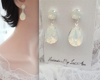 White opal crystal earrings, Swarovski Crystal earrings, Crystal earrings, Brides earrings, Bridesmaids earrings, Wedding earrings, SOPHIA