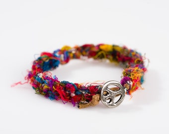 Vibrant Peace Sign Bracelet. Made of Recycled Fiber. Hippie Jewelry.