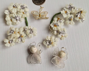 Vintage Flowers, Tiny Angel Pins and Butterfly