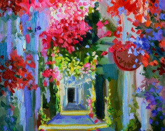 Instant downloadable print of BOUGAINVILLEA SIDEWALK, purple and ochre, sunlit courtyard, dappled light, French shutters