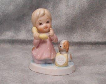 Vintage Lefton Little Girl on Phone with Puppy 1986