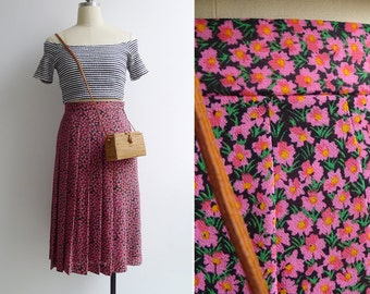 15% SALE (Code In Shop) - Vintage 80's Pink Floral A-Line Pleated Skirt XS
