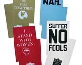 Imprimé à la main affiches mars - nous augmenter ou automne ensemble, je se tenir avec les femmes, souffrent pas fous, NAH (20 % du prix de vente sera remis)