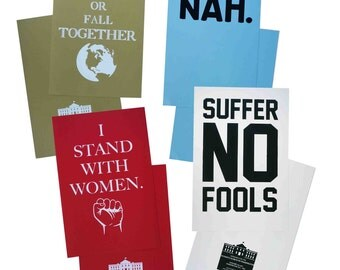 SALE: Hand Printed March Posters - We Rise Or Fall Together, I Stand With Women, Suffer No Fools, NAH (20% of sale price will be donated)