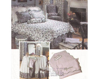 Uncut Bedrooms Essentials Sewing Pattern Vintage 1990s Simplicity 7755 Duvet Cover Dust Ruffle Pajama Bag Pillow Covers Bed Caddy