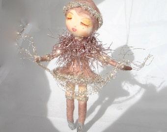 Spun cotton Christmas pixie ornament a OOAK vintage craft by jejeMae