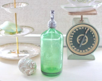 Vintage Seltzer Bottle Green Glass Advertising Sign
