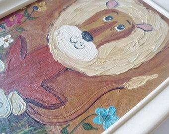 Vintage Framed Painting Cartoon LION  8 x 10