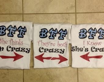 Personalized BFF shirts, friends shirts, best friend forever t shirts, kids best friend matching shirts, funny t shirt
