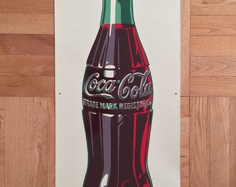 Coca Cola Hobbleskirt Bottle Tin 1948 Sign Made In The USA AAW 12 48 USA Collectable Coke Soda Pop Americana Advertising Rare Display