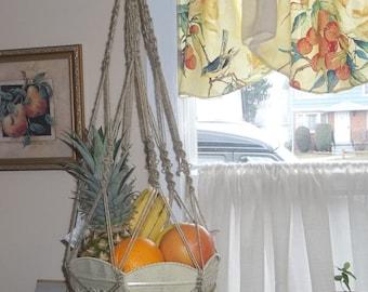 Jute Macrame fruit bowl hanger with Tuscan style vintage metal bowl