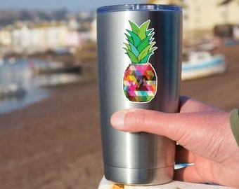 Small Pineapple Sticker - Colorful Geometric Yeti Tumbler Sticker Laptop Decal Sticker Food Tropical Fruit Island Color Cute Phone Decal Art