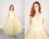 50s Yellow Pastel Gown Vintage Strapless Tulle Gown Prom Dress