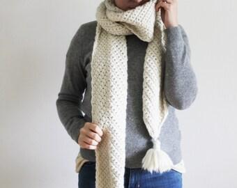 Crochet PATTERN: The Gatlida Scarf one size long super scarf chevron tassels