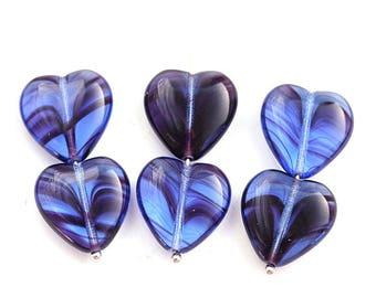 15mm Blue Purple Heart beads, Mixed Blue violet czech glass pressed beads, 10Pc - 3024