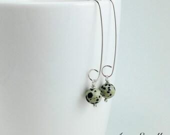 Dalmatian Jasper Dangle Earrings - Long Sterling Silver Earrings, Stone Earrings, Gifts under 30