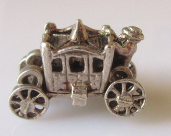 Silver Coach with Passenger and Footman Charm