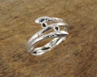 Double Twig with Buds Engagement Ring - Solid Sterling Silver - Nature - Everyday Ring - Ethical Black Diamonds - Made to Order