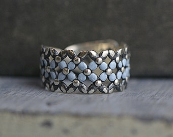 NEW: Sterling silver Forget me Not ring. Filigree ring with light blue enameled trim. Partly oxidized. Adjustable. Bridesmaid ring.