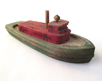Antique Toy Tugboat, Tooter, wood boat, nautical, harbor ship, 1930-40s