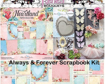 Reneabouquets Always And Forever Scrapbook Kit Featuring Blue Fern Heartland Papers, Handcrafted Butterflies, Die Cuts, Glitter & More