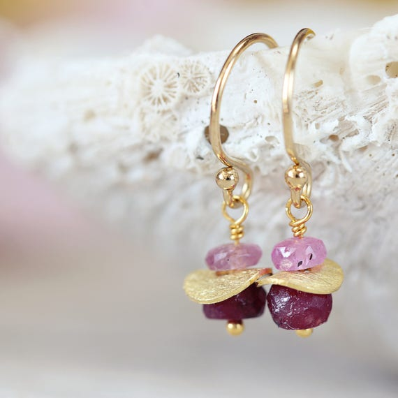 Gold Ruby Earrings - Fine Jewelry Birthstone Gift