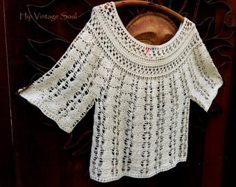 Vintage 1970's Cotton Crochet Sweater, Mystical Fashions, Bohemian