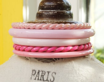 STACK of PINK BANGLES - Stack of 5 different pink bangles - stack together or wear separately - lovely varied stack of pink bangles