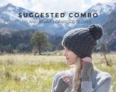 Combo / Knit Fingerless Gloves Plus Knit Pom Hat Set / FLÂNEUR + OAKRIDGE / Cozy Winter Knitwear Beanie And Mitts