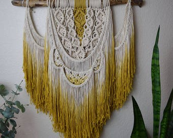 Golden / Macrame Wall Hanging, Ombre Mustard-Yellow Autumn Tapestry / Boho Bohemian Wall Decor/ OOAK