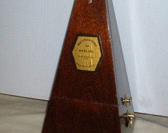 Fully Restored Antique Montgomery Ward Wood Bell Metronome de Maelzel - Made by Seth Thomas Clock Co., Dark Walnut, Calibrated, Runs Great.