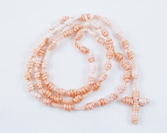Knotted Cord Rosary - Peach & White - Hospital Safe and Great for Small Children - Baptism First Communion Gift, Stocking Stuffer