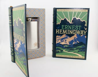 Book SAFE Flask optional Earnest Hemingway diversion safes fake book safe hollow book hollowed out book graduation gift Writers desk gift