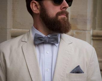 Grey dot Batwing Bow tie, grey dot bow tie, batwing bow tie, slim bow tie, bow tie and pocket square, grey chambray bow tie, grey bow tie
