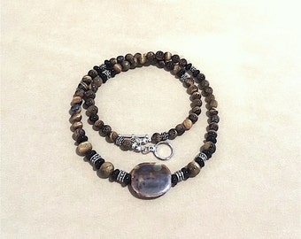 Men's Tiger's Eye, Jet Black Glass Bead Necklace w/Silver Accents & Unique Focal Bead, Handmade Beaded Jewelry, Men's Necklace Gift Idea