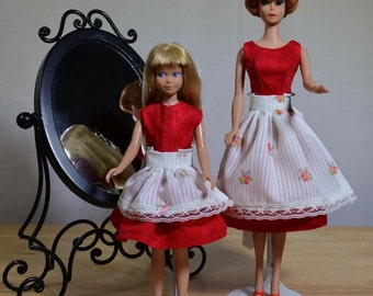 Barbie Skipper Matching Dresses Aprons Set 50s 60s Style