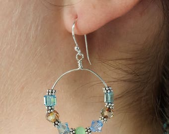 Green, Swarovski Crystals, and Bali Sterling Silver Earrings